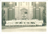 Medical students and faculty on steps of Medical Laboratories Building, The University of Iowa, 1930s