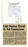 Caleb Knutson elected as soil commissioner.
