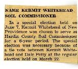 Kermit Whitehead named Soil Commissioner for Hardin SCD.