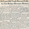 Drake Times-Delphic, 1940, 10-Year-Old Vault Record Falls as 31st Relays Become History