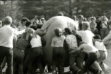 Playing push-ball on Central Campus for Homecoming, 1978