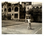 Vice President Wallace playing tennis at Exposition Club, Lima, Peru, 1943