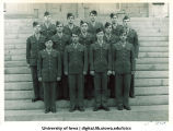 Cadets of the 5th Platoon on the steps of the Old Capitol, The University of Iowa, ca. 1943