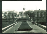 Cars on Iowa Avenue leading toward the west side of the Old Capitol, The University of Iowa, November 17, 1927