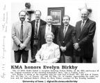 "Evelyn Birkby at KMA-hosted reception honoring her on fortieth anniversary of original broadcast of morning homemaker show ""Down a Country Lane,"" Shenandoah, Iowa, May 15, 1990"