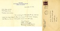 Ethel D. Campbell letter to Helen Patricia (Patsy) Wilson exchanging bookplates from the University of Delaware.