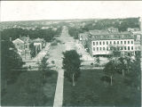 Iowa Avenue, St. James and Unitarian Church as seen from cupola of the Old Capitol, The University of Iowa, 1910