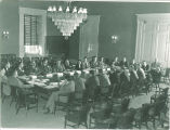 Meeting in the old House chamber of Old Capitol, The University of Iowa, Jun. 1937