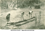 Learning to handle an ax at Marjory Camp,  The University of Iowa, 1930s