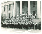 University of Iowa marching band on steps of Old Capitol, 1959