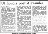 """UI honors poet Alexander,"" May 6, 1988"