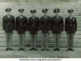 Cadets and officers of the 1st Battalion in front of steps of the Old Capitol, The University of Iowa, ca. 1943