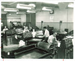 Operating linograph near the printing presses in Close Hall, The University of Iowa, 1950s