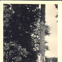 Unknown woman with large fish hanging over her shoulder