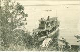 "Steamer ""Okoboji"" landing young women at Iowa Lakeside Laboratory, West Lake Okoboji, 1910s"