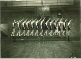 Students on balance beam, The University of Iowa, 1930