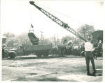 First load of dirt toward Main Library construction, the University of Iowa, May 11, 1949