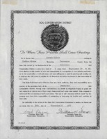 Certificate of election of Don Eibey as the District Commissioner for the Delaware County Soil and Water Conservation District.