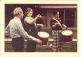 Scottish Highlanders drum practice, The University of Iowa, 1970s?