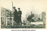 Chemistry lab and alchemist in Mecca Day parade, The University of Iowa, 1922