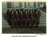 Cadets of the 3rd Platoon on steps of the Old Capitol, The University of Iowa, ca. 1943