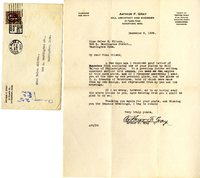 Arthur F. Gray letter to Helen Patricia (Patsy) Wilson exchanging bookplates.