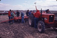 Group from the Aurelia FFA get a close-up look at a no-till planter.