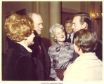 "Betty Ford, Pres. Gerald Ford, Mary Louise Smith, Gov. Ray Schafer, Bill Brock, and ""Muffet"" Brock at White House reception, Washington, D.C., January 14, 1977"