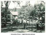 Outdoor games at a picnic, The University of Iowa, late 1930s