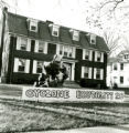 Phi Gamma Delta homecoming lawn display of Cyclone Brutality, 1968