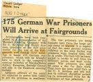 175 German war prisoners will arrive at Fairgrounds
