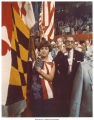 Woman holding a flag at the Republican National Convention, Kansas City, Mo., August 1976
