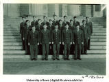 Cadets of the 4th Platoon on steps of the Old Capitol, The University of Iowa, ca. 1943