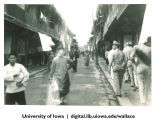 Street scene with American military officiers, China, 1944