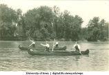 Paddling tandem on the Iowa River, The University of Iowa, 1930s
