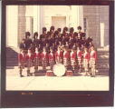 University of Iowa Scottish Highlanders on steps of Old Capitol, 1979 or 1980