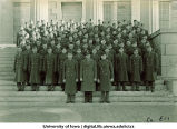 Cadets of Company E-1 on steps of the Old Capitol, The University of Iowa, ca. 1943