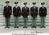 Cadets and officer of the 2nd Battalion in front of steps of the Old Capitol, The University of Iowa, ca. 1943