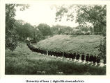 Commencement procession walking on path near Quadrangle Residence Hall and heading west towards Field House, The University of Iowa, June 1929