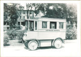 University Hospital bus in front of Seashore Hall, The University of Iowa, 1920