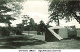 Camp Kellogg, with University of Iowa Hospital in background, The University of Iowa, 1920s