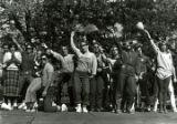 Kappa Kappa Gamma and Delta Upsilon winning Yell-Like-Hell performance at Homecoming, 1980