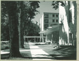 Street view of Clinton Street entrance to Burge Residence Hall, the University of Iowa, 1960s?