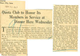 Quota club to honor its members in service at dinner here Wednesday