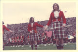 University of Iowa Scottish Highlanders Mary Ann Jenkins and Sharon Sauder with batons, 1970s?