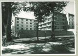 Northwest view of Burge Residence Hall, the University of Iowa, 1960s?