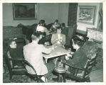 Playing bridge in the Iowa Memorial Union, the University of Iowa, 1950s?