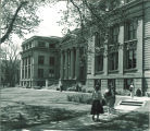 Women students outside MacBride Hall, the University of Iowa, April 1955