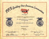 FFA building our American communities certificate honoring Appanoose County, 1975