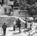 Students on the south side of the Curtiss Hall steps, 1971